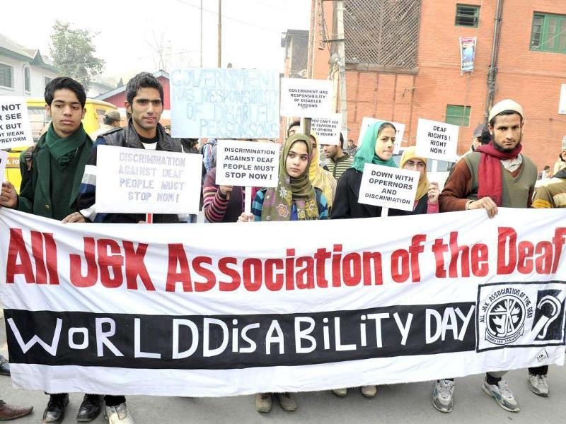 A group of Indians with hearing and speaking disabilities attend a rally on World Disability Day in Srinagar. AFP