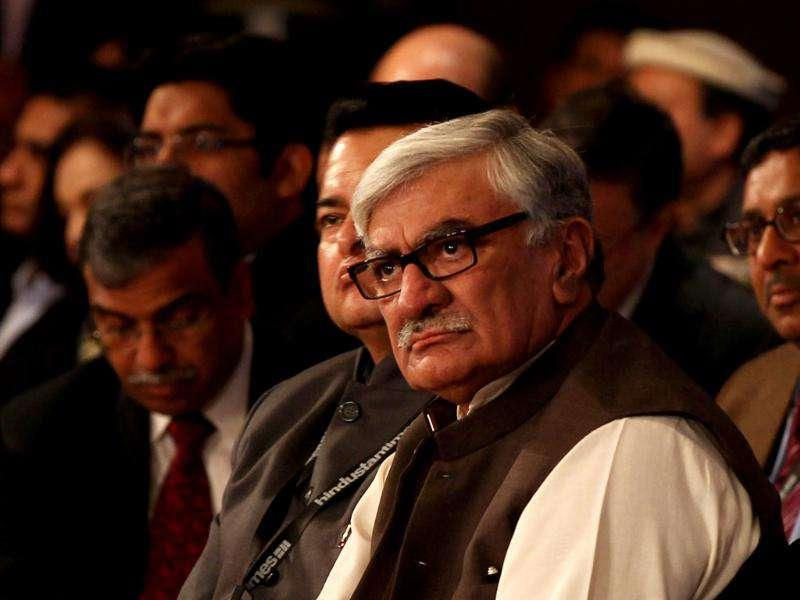 Pakistan's Awami National Party president Asfandyar Wali Khan attends a session during the HT Leadership Summit 2011 in New Delhi. HT Photo by Ajay Aggarwal