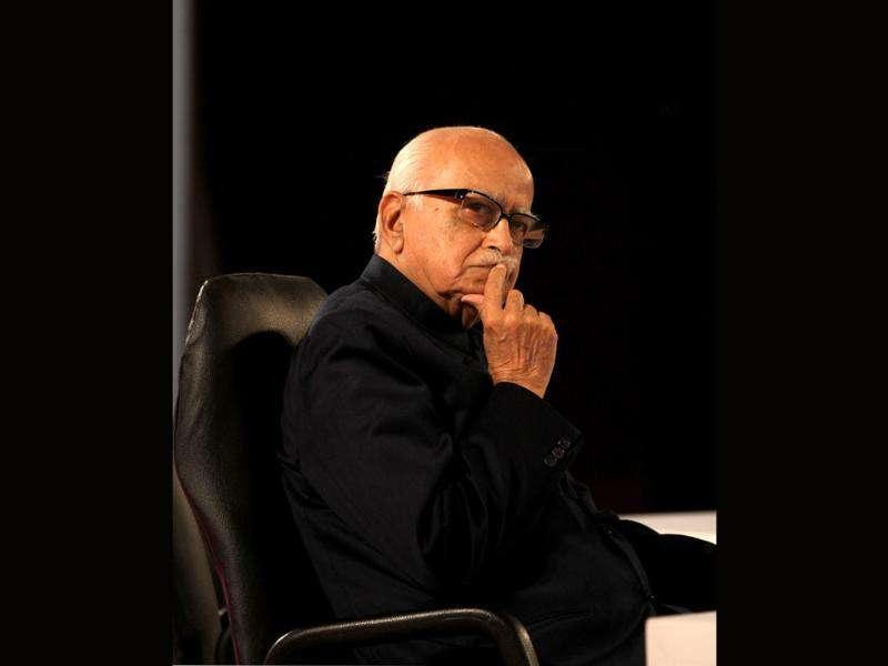 Senior BJP leader LK Advani ponders over a point during a session at the HT Leadership Summit 2011 in New Delhi. HT Photo by Sanjeev Verma