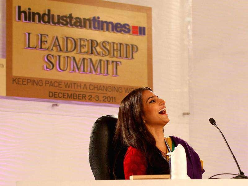 Actor Vidya Balan smiles while answering audience questions at the HT Leadership Summit 2011 in New Delhi. HT Photo by Ajay Aggarwal