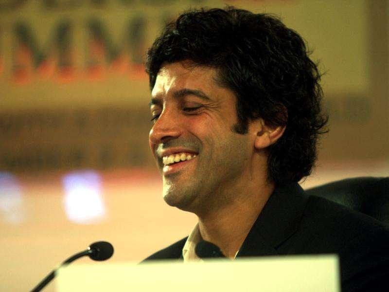 Actor/director Farhan Akhtar looks amused during a conversation at the HT Leadership Summit 2011 in New Delhi. HT Photo by Subhendu Ghosh