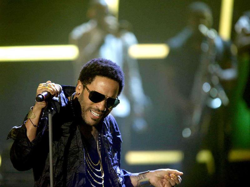 US singer Lenny Kravitz performs during the German game show