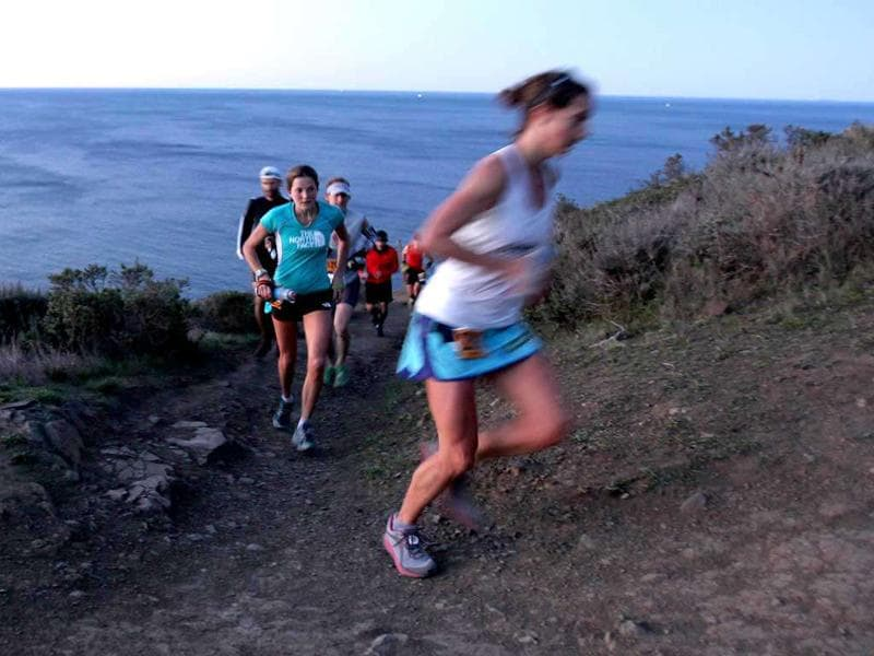 Runners compete in the GORE-TEX 50 Mile Race in The North Face Endurance Challenge in San Francisco, California.