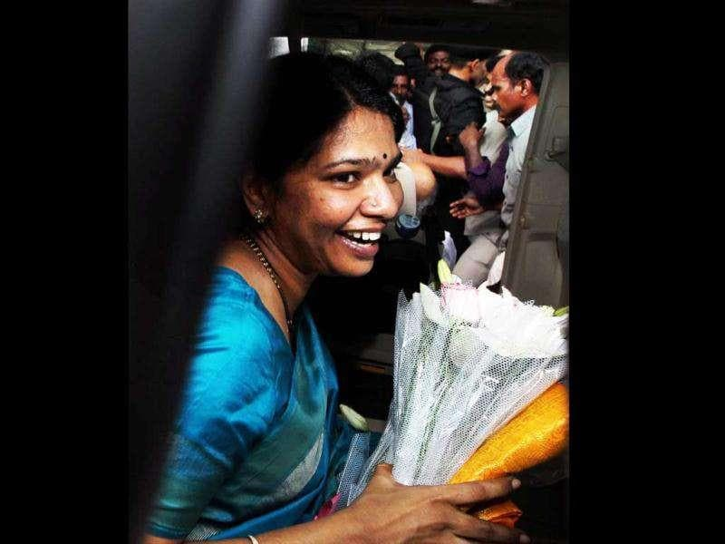 DMK MP Kanimozhi being welcomed on her arrival at the airport in Chennai. An accused in 2G spectrum allocation case, Kanimozhi was released on Tuesday after the Delhi high court granted bail to her in the case. PTI Photo by R Senthil Kumar