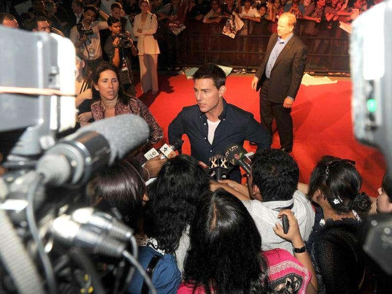 Tom Cruise speaks to the media during a promotional event for his movie Mission Impossible: Ghost Protocol in Mumbai. PTI/Santosh Hirlekar
