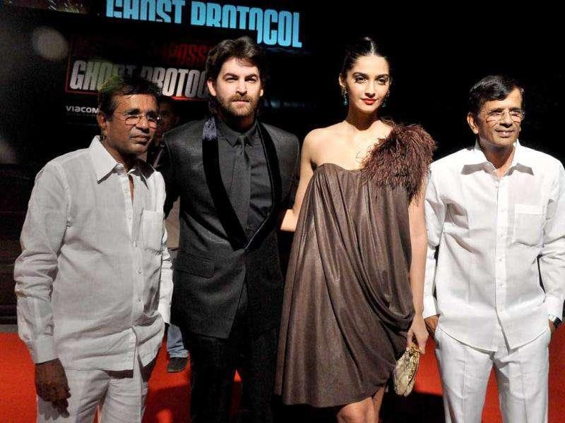 Bollywood actors Sonam Kapoor and Neil Nitin Mukesh along with director duo Abbas-Mustan. AFP photo