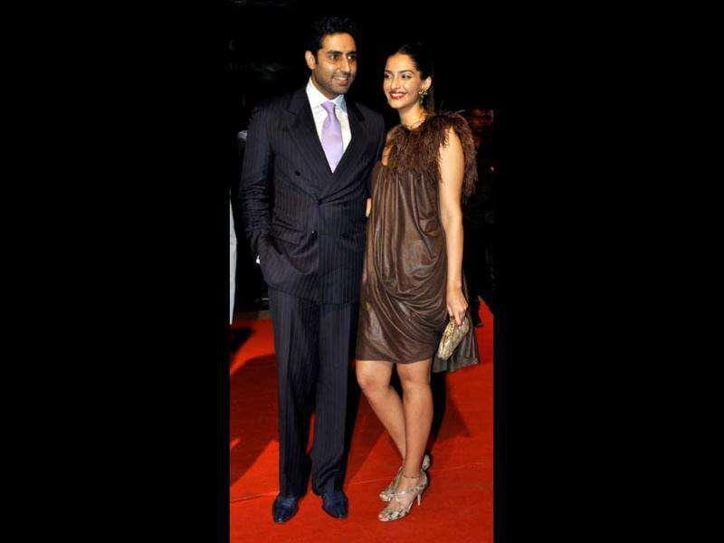 Sonam Kapoor along with her Players co-star Abhishek Bachchan. AFP photo
