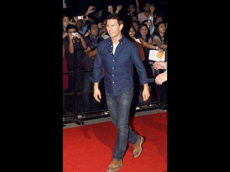 Hollywood heartthrob Tom Cruise arrives at the special screening of his upcoming film Mission Impossible: Ghost Protocol in Mumbai on December 4. AP Photo/Rajanish Kakade