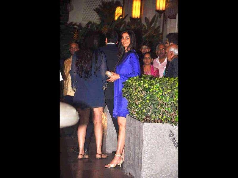 Actor Tabu was also spotted at Tom Cruise's party in a short aubergine dress. (Photo Courtesy: Bubbles, Pinkvilla)