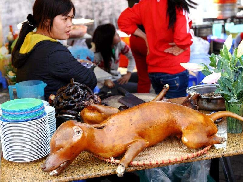 A vendor sells dog meat at the Hanoi Beer festival held in downtown Hanoi.