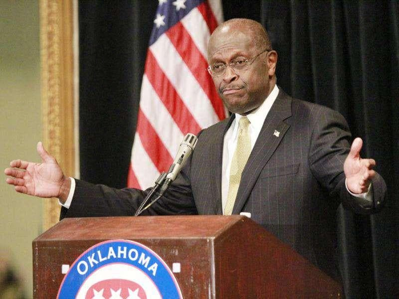 Former Republican presidential candidate, Herman Cain speaks at a state GOP fundraiser at the Oklahoma City Marriott. In a speech to about 250 people in Oklahoma City, Cain promised to continue fighting for several of his initiatives
