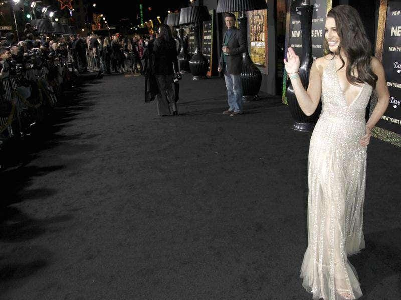 Lea Michele arrives at the premiere of New Year's Eve in Los Angeles. AP Photo/Matt Sayles