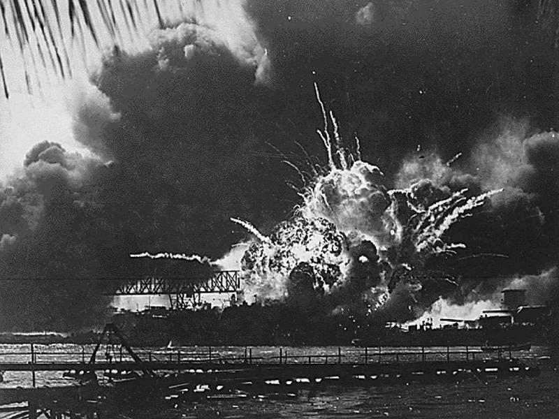 The USS SHAW explodes during the Japanese raid on Pearl Harbor, Hawaii on December 7, 1941.