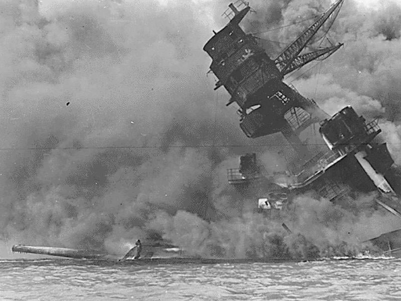 A view of the USS ARIZONA burning after the Japanese attack on Pearl Harbor in Hawaii December 7, 1941. December 7, 2011 marks the 70th anniversary of the Pearl Harbor attack in which over 2,400 members of the United States military were killed.