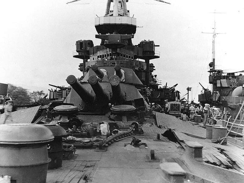 A view on the deck of USS Nevada looking towards the forward 14