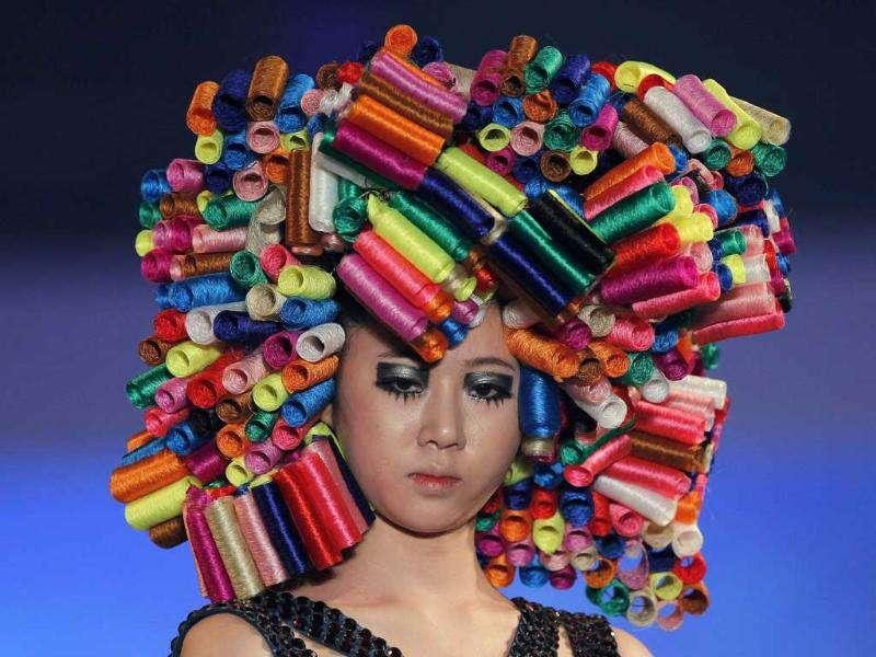 A headgear prepared with thread reels presented the Korea Hair Collection in Seoul. Reuters/Jo Yong-Hak