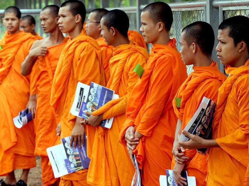 Cambodian Buddhist monks stand outside the courtroom during a hearing of evidence at the Extraordinary Chambers in the Courts of Cambodia (ECCC) in Phnom Penh. Cambodia's UN-backed tribunal will decide next week whether to free the Khmer Rouge's former