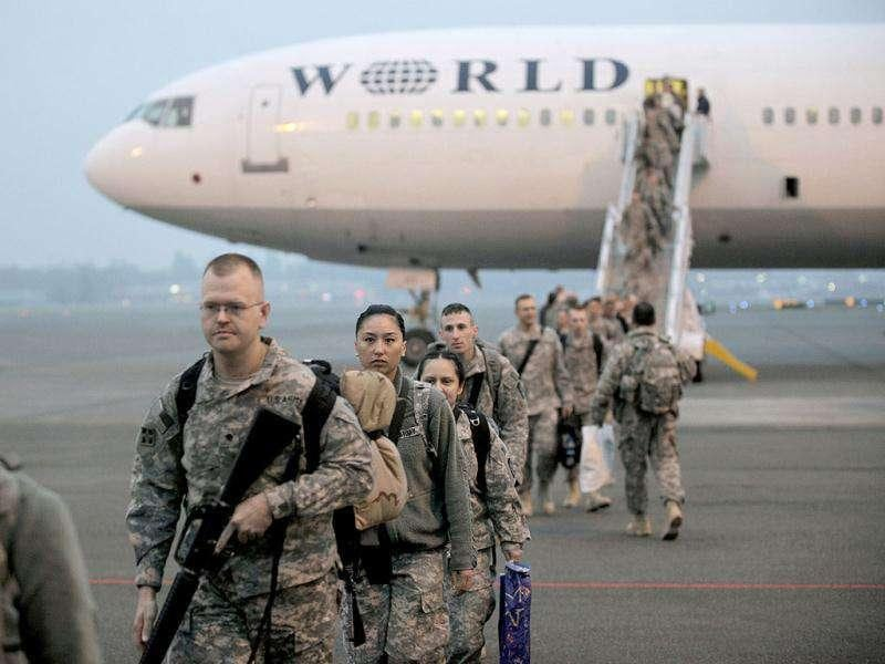 US Army soldiers who had been serving in Iraq return home to Joint Base Lewis McChord in Washington state.