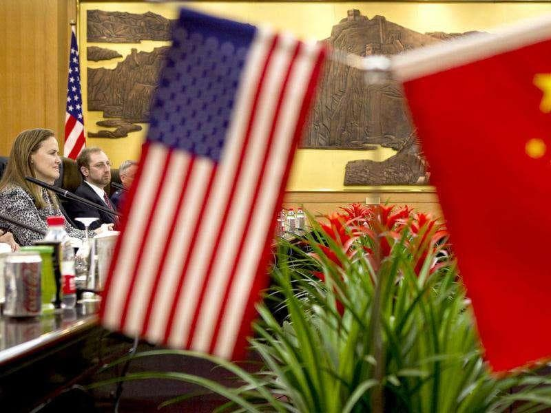 US Defense Undersecretary Michele Flournoy, left, meets with Gen. Ma Xiaotian, the People's Liberation Army's deputy chief of staff, right, during a bilateral meeting at the Bayi Building in Beijing. Chinese and US defense officials met in Beijing for their highest-level contacts since recent frictions over arms sales to Taiwan and plans to strengthen the American military presence in the Pacific.