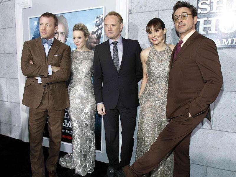 The cast of Sherlock Holmes: (Left to right) Guy Ritchie,Rachel McAdams, Jared Harris, Noomi Rapace and Robert Downey Jr.