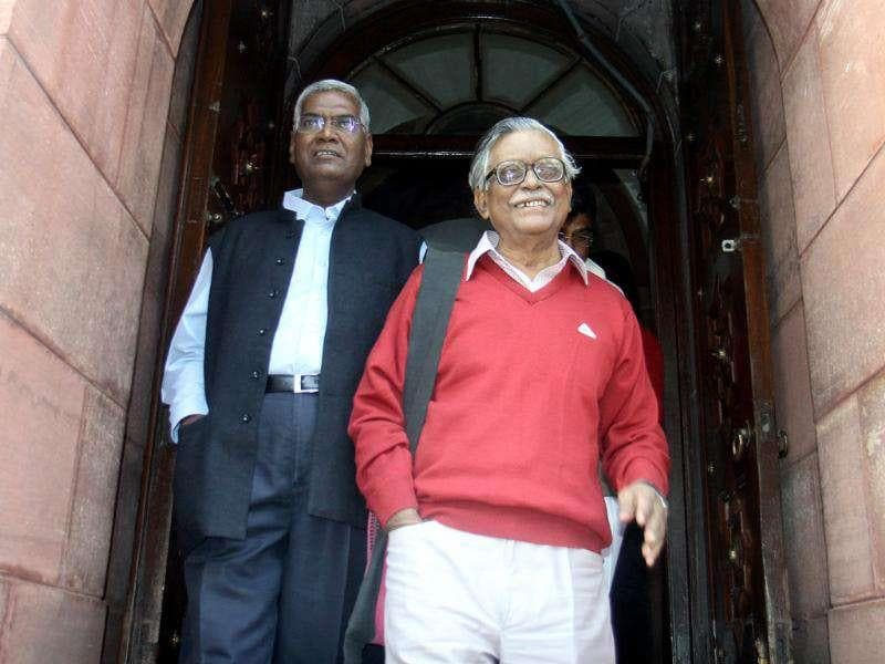 CPI members Gurudas Dasgupta and D Raja after attending the all-party meeting on the issue of FDI in retail at Parliament House in New Delhi. HT/Sonu Mehta