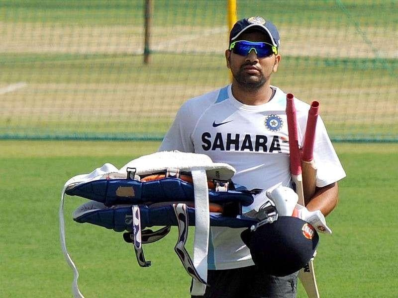 Rohit Sharma attends a practice session at The Holkar Stadium in Indore. AFP Photo