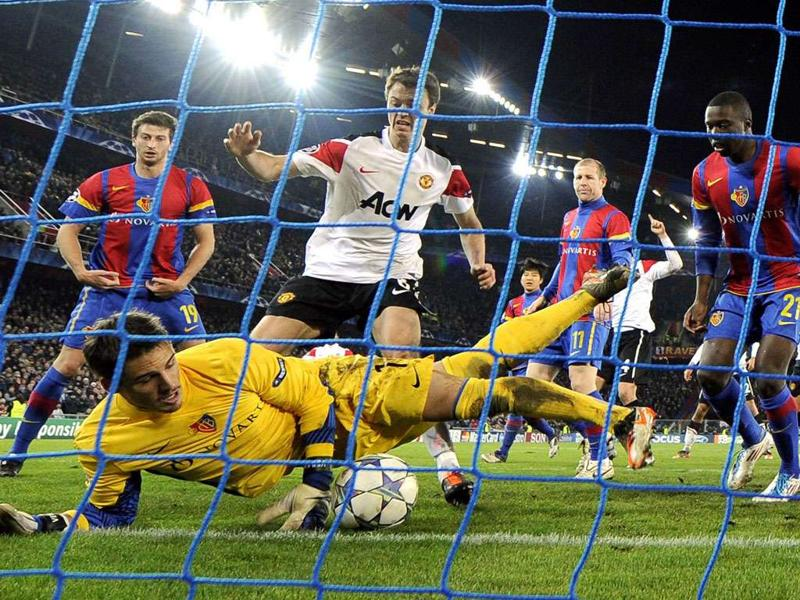 FC Basel's goalkeeper Yann Sommer tries to stop a goal during the Champions League group C football match against Manchester United in Basel. Basel won 2-1.