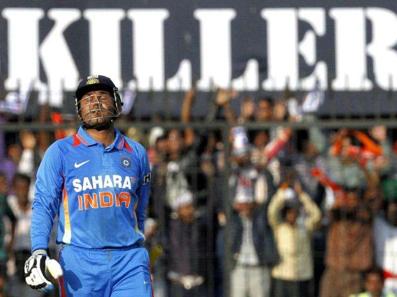 Virender Sehwag plays a shot during their 4th ODI match against the West Indies in Indore. Reuters Photo