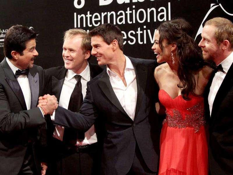 Anil Kapoor (L) can't stop bonding with Tom (3rd from Left). (AFP)