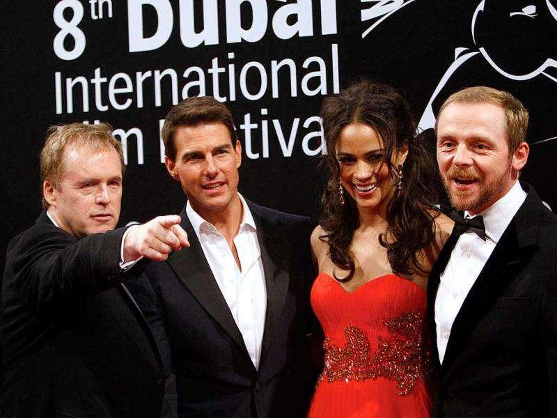 (From L-R) Brad Bird, Tom Cruise, Paula Patton and Simon Pegg at the film festival. (AFP)