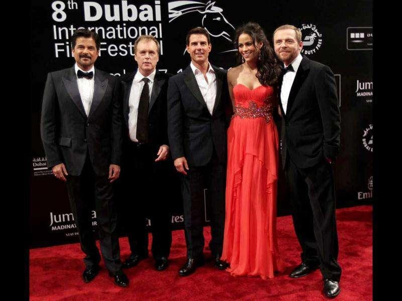 After India, it's destination Dubai for Tom Cruise. The actor along with his Mission Impossible 4: Ghost Protocol cast headed to the Dubai International Film Festival 2011. Here's a look at the cast.