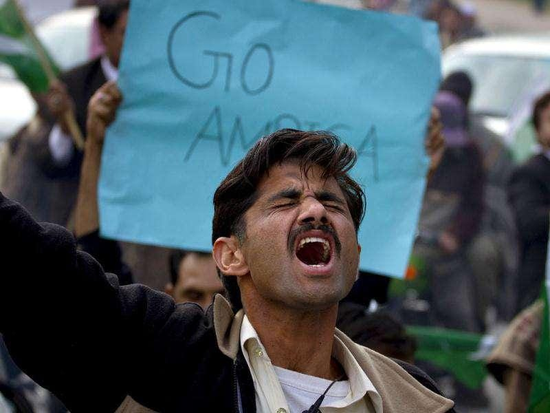 A Pakistani chants slogans during an anti Nato rally in Islamabad, Pakistan. AP Photo/Anjum Naveed