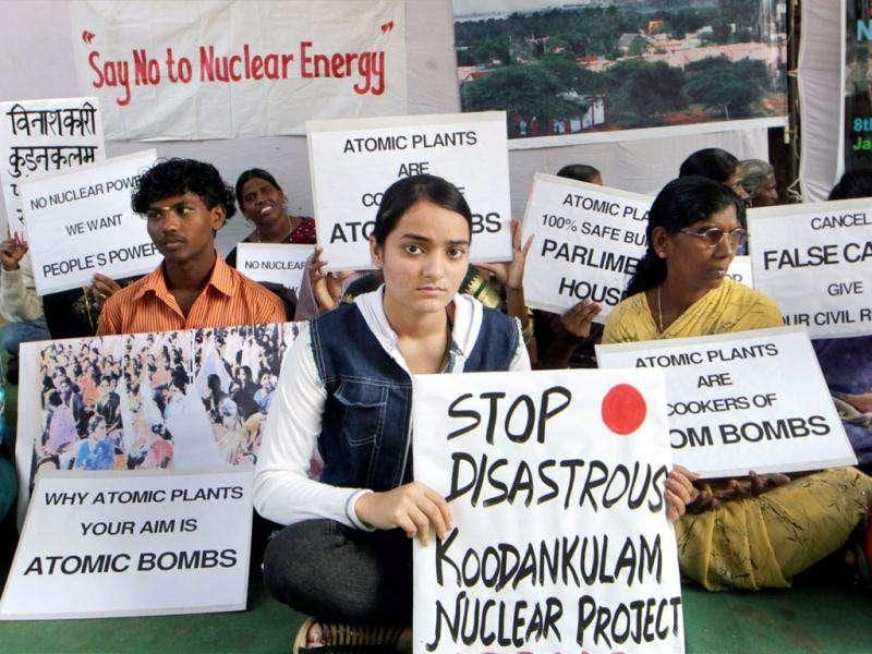 Members of Civil society organisations holding placards during an Anti-Nuclear protest demonstration at Jantar Mantar in New Delhi. (PTI Photo)