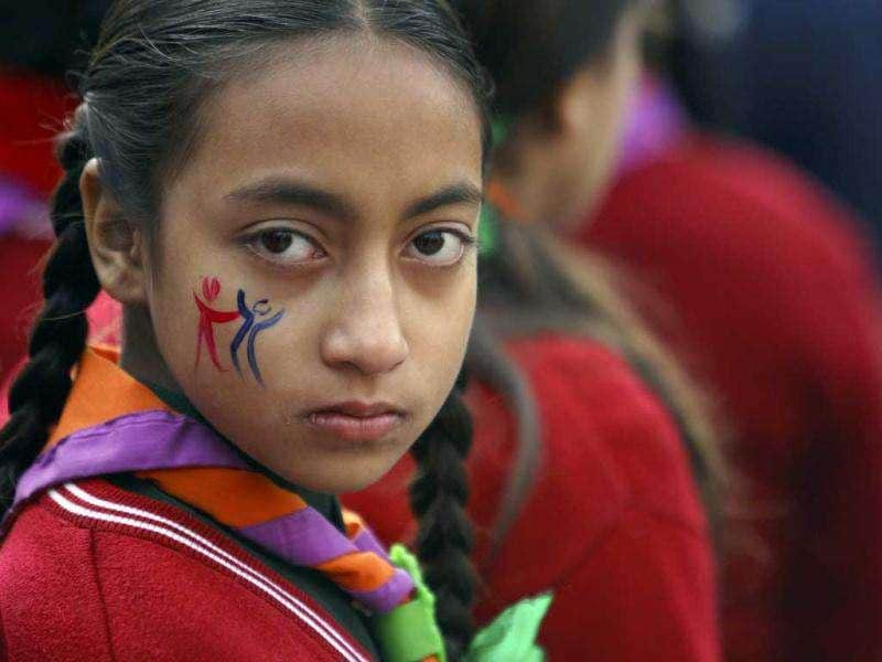 A girl looks on as she participates in a rally marking International Human Rights Day in Kathmandu. Reuters/Navesh Chitrakar
