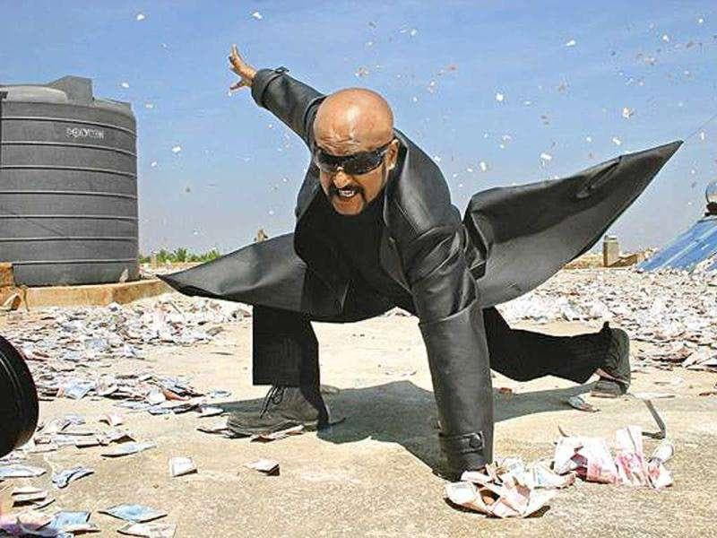 A still from Rajini's 2007 blockbuster film Sivaji - The Boss opposite Shriya Saran.