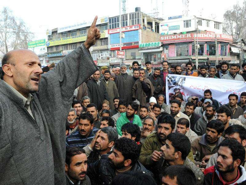 Kashmiri lawmaker Engineer Sheikh Abdul Rashid addresses supporters during a demonstration to mark International Human Rights Day in Srinagar. Demonstrations were held in Srinagar to protest against alleged human rights violations by security forces on Kashmiris. AFP/Rouf Bhat