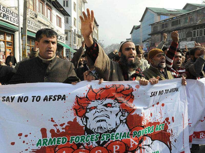 Supporters of Kashmiri lawmaker Engineer Sheikh Abdul Rashid shout slogans during a demonstration to mark International Human Rights Day in Srinagar. AFP/Rouf Bhat