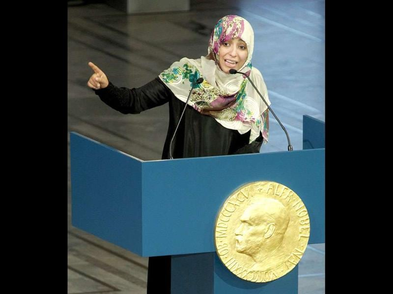 Nobel Peace Prize winner and human rights activist Tawakkol Karman of Yemen speaks at City Hall in in Oslo, Norway.