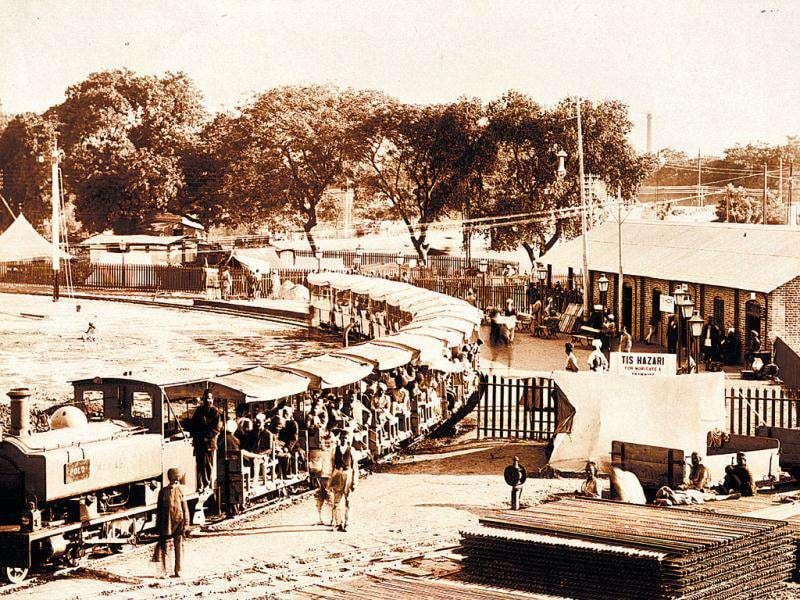 The Tis Hazari Railway Station, 1911: This rail line anticipated the Metro, being one of several small stations built to link the venue of the 1911-1912 Coronation Durbar, extending from Kashmiri Gate to Azadpur. Courtesy: Bates and Hindmarch, Private Collection