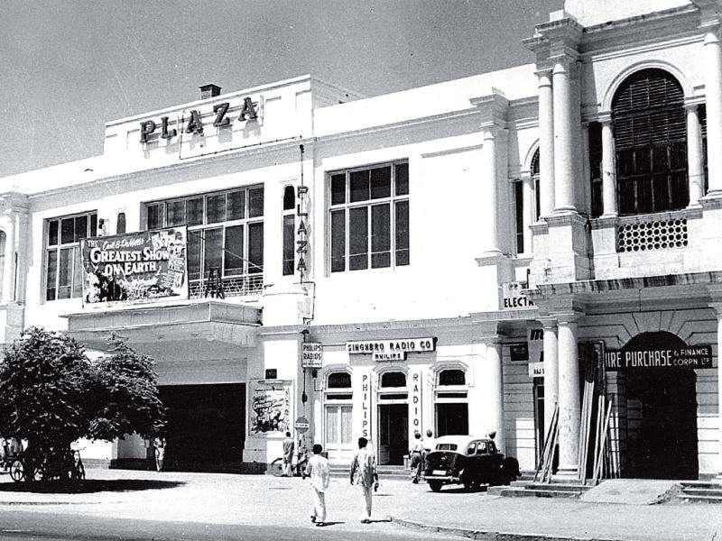 Plaza Cinema, 1952: Most of the cinemas of British New Delhi had European names. Cecil de Mille's film The Greatest Show on Earth, running at Plaza when this picture was taken, was released in 1952. Courtesy: Press Information Bureau, New Delhi