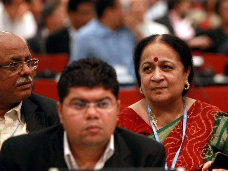 Minister of environment affairs Jayanthi Natarajan and members of the Indian delegation attend the plenary on the final day of the COP17 Climate Change Conference at International Convention Centre in Durban. AFP Photo/Rajesh Jantilal