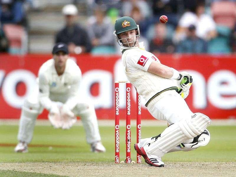 Australia's Phil Hughes avoids a high ball during the second cricket Test match against New Zealand, at Bellerive Oval in Hobart. Reuters/Daniel Munoz