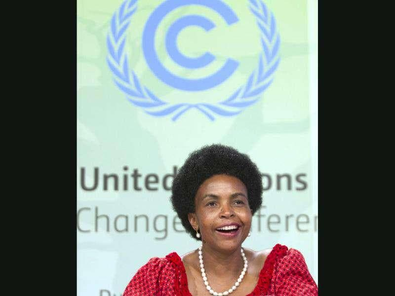 Conference of the Parties (COP17) president Maite Nkoana-Mashabane smiles at a media briefing after an agreement was reached to extend the Kyoto Protocol at the United Nations Climate Change Conference in Durban. Reuters/Rogan Ward