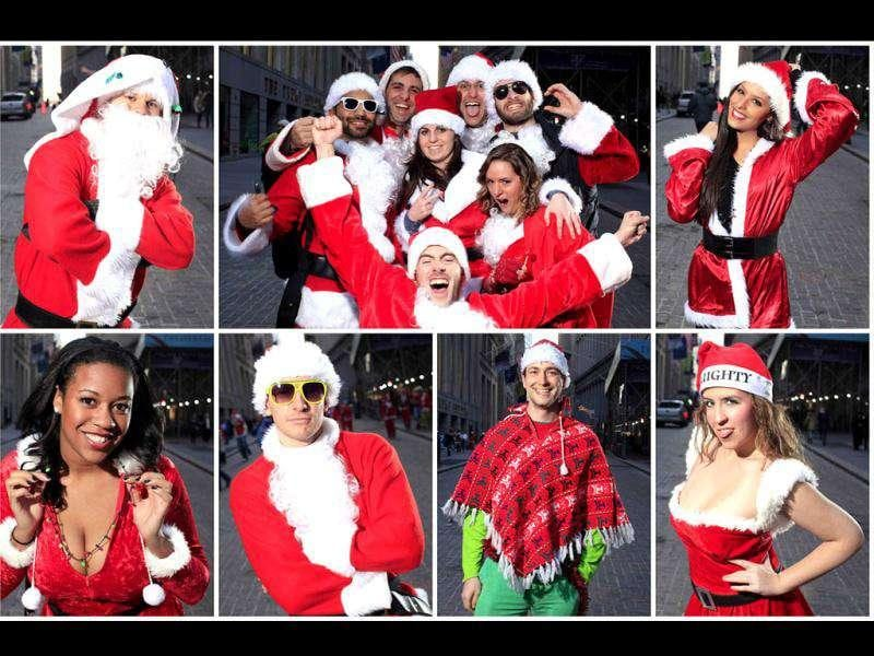 A combination photo shows participants of SantaCon posing for a portrait at the corner of Broad and Wall Street in New York. SantaCon is an annual celebration of the holiday season with revelers travelling around New York to different bars and locations. REUTERS/Carlo Allegri