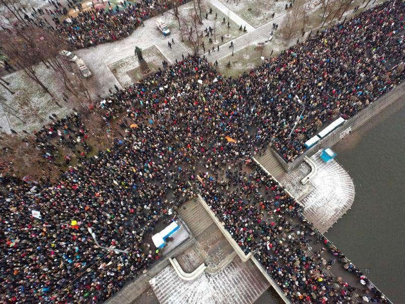 An arial view shows crowds gathering at Bolotnaya Square during an opposition protest action against the alleged mass fraud in the December 4 parliamentary polls in central Moscow. Tens of thousands of election protesters turned out in Moscow and other major cities across Russia in open defiance to strongman Vladimir Putin's 12-year rule.