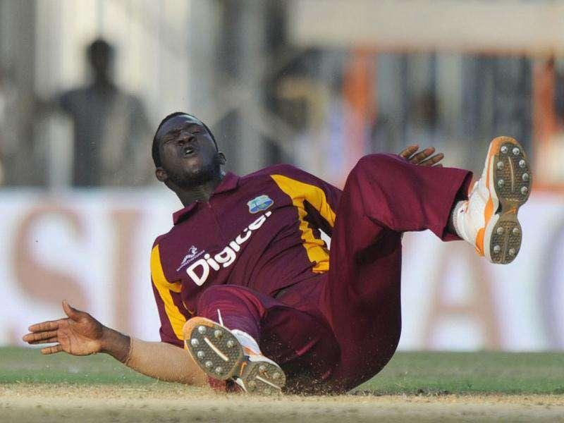 West Indies captain Darren Sammy reacts after missing a ball during the final ODI cricket match between India and West Indies at The M.A.Chidambaram Stadium in Chennai.
