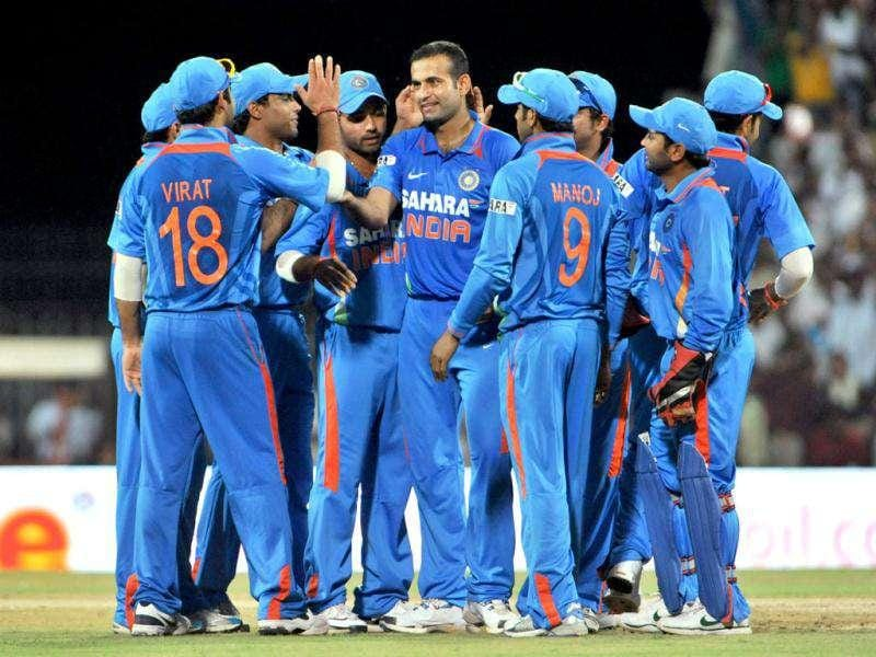 Irfan Pathan (C) is congratulated by his teammates after he took the wicket of West Indies' Lendl Simmons during their fifth and last one-day international cricket match in Chennai.