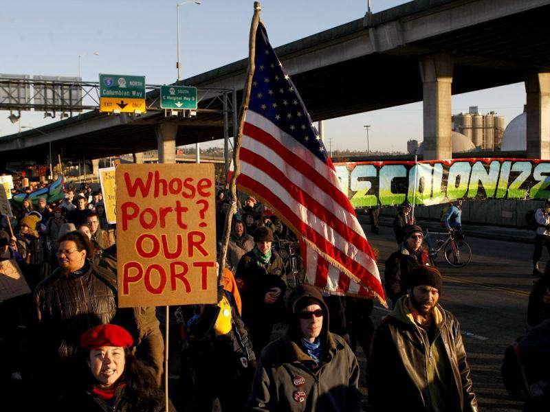 Protesters with Occupy Seattle march to the Pat the Port of Seattle, as part of a national effort to disrupt West Coast port traffic. AP Photo