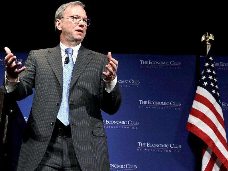 Executive chairman of Google Inc Eric Schmidt addresses a Economic Club of Washington luncheon in Washington, DC. AFP Photo