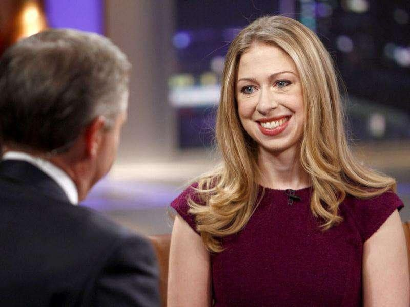 Host Brian Williams, left, interviews Chelsea Clinton, daughter of former US President Bill Clinton, on Rock Center With Brian Williams in New York. AP Photo